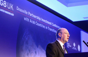 Foreign Office Minister Alistair Burt at the G8 Deauville Partnership Investment Conference in London.