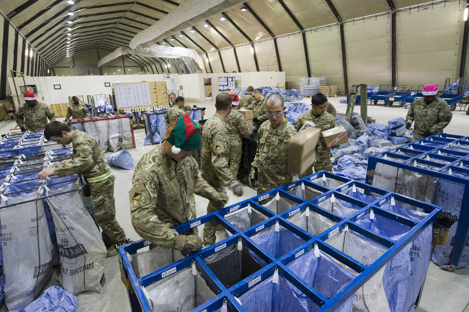 Troops sort through mail