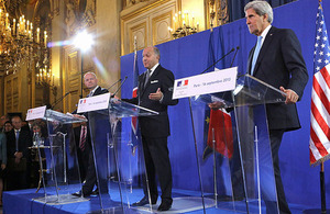 The Foreign Secretary William Hague at the press conference with French Minister of Foreign and European Affairs Laurent Fabius, and US Secretary of State John Kerry