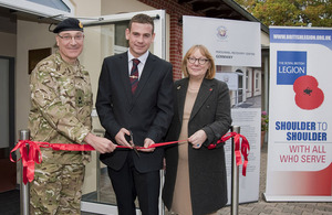 Left to right: Major General Richard Nugee, Lance Corporal Richard Drummond and Sue Freeth at the opening of the Personnel Recovery Centre in Sennelager