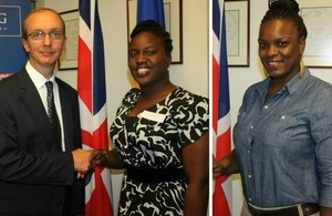 Photo collage of (from left) Colin Dick, Deputy British High Commissioner, Shena-Ann Ince and Jihan Williams.