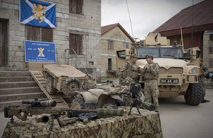 Soldiers of 4th Battalion The Royal Regiment of Scotland in the main square of Copehill Down Village [Picture: Corporal Ross Fernie, Crown copyright]