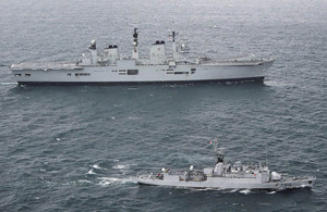 HMS Illustrious and French naval vessel FS Lieutenant de Vaisseau Lavallée en route to La Coruna in Spain