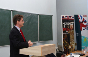 Deputy Head of Mission giving the lecture to the students of the International Relations Faculty