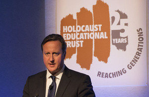 Prime Minister David Cameron delivering a speech at the Holocaust Educational Trust 25th anniversary