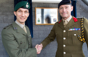 Lieutenant Colonel Simon Chapman (left) and Colonel Rupert Prince at the official opening of the new motor transport workshops at CTCRM Lympstone [Picture: Crown copyright]
