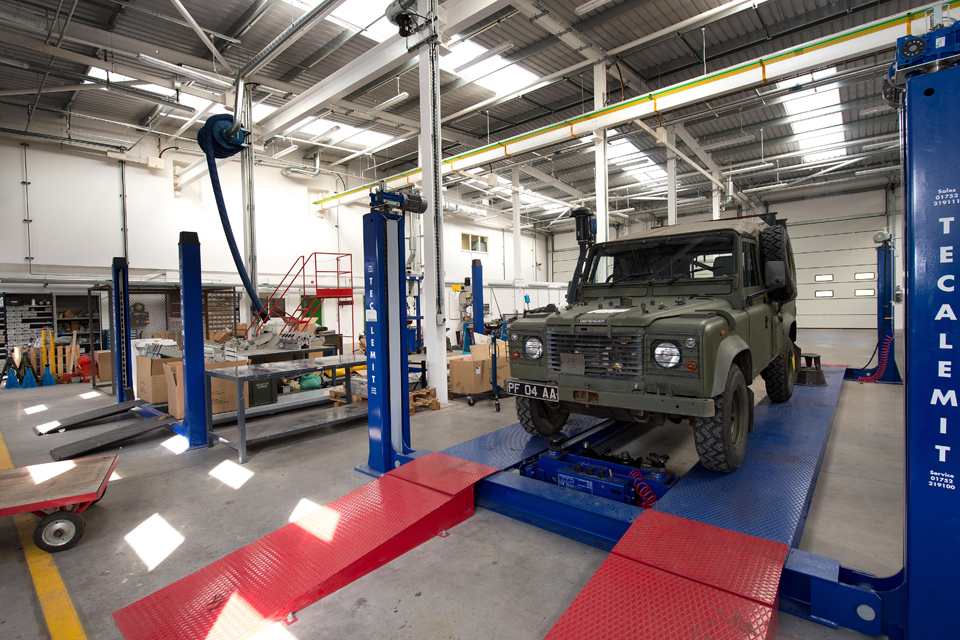Vehicle bays inside the new motor transport workshops at CTCRM Lympstone