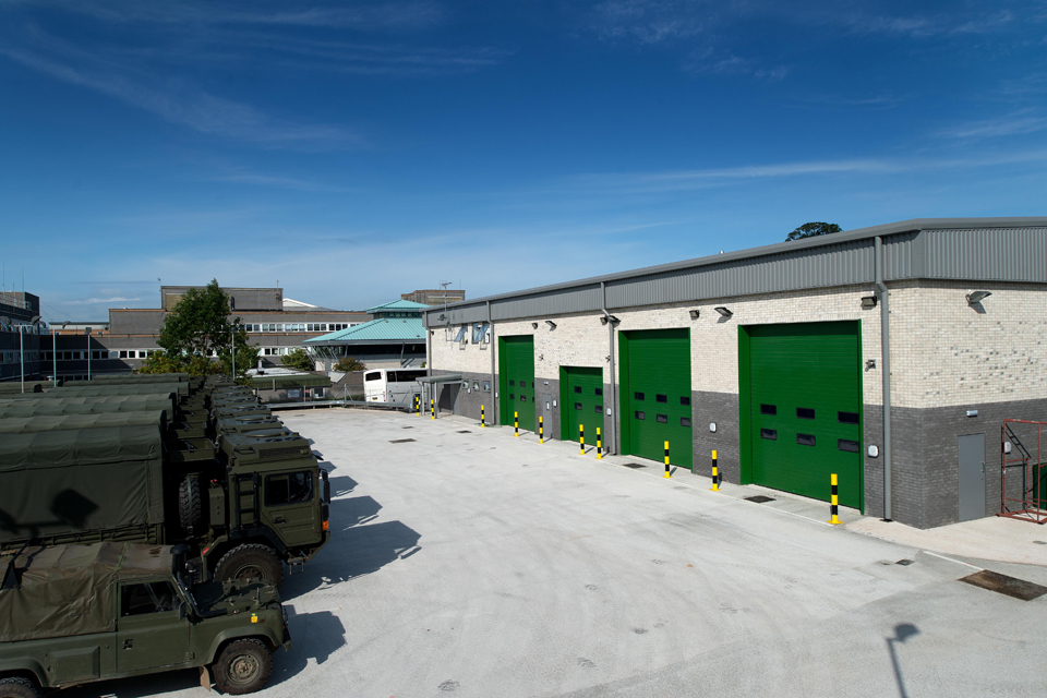 The new motor transport workshops at CTCRM Lympstone