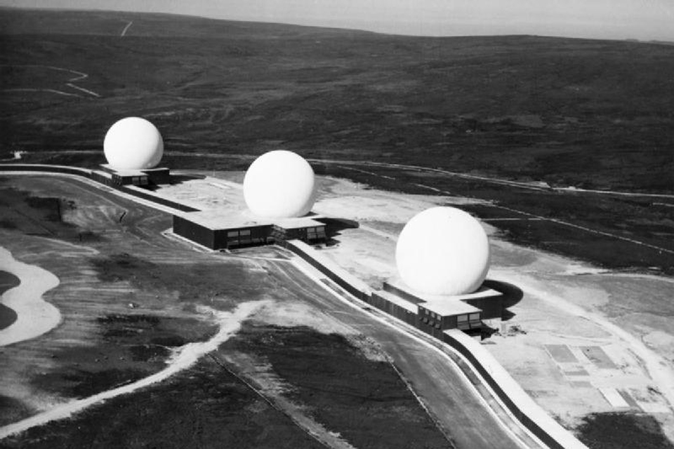 The golf-ball-shaped radar installations at RAF Fylingdales in 1963