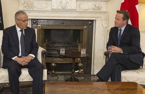 Prime Minister David Cameron meets with Libyan Prime Minister Ali Zeidan