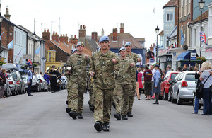 Soldiers from 3 Regiment Army Air Corps march through the town of Aldeburgh