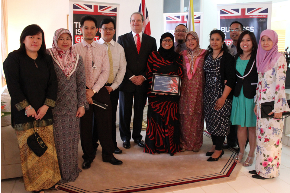 Mr David Campbell, Deputy British High Commissioner Sunny Ahmed, Fatin Arifin and the Brunei Chevening Alumni.