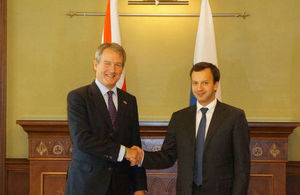 Owen Paterson and Arkady Dvorkovich