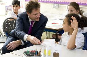 Deputy Prime Minister Nick Clegg visiting a primary school
