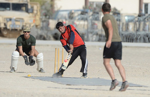 An Afghan batsman makes contact with the ball [Picture: Sergeant Barry Pope, Crown copyright]