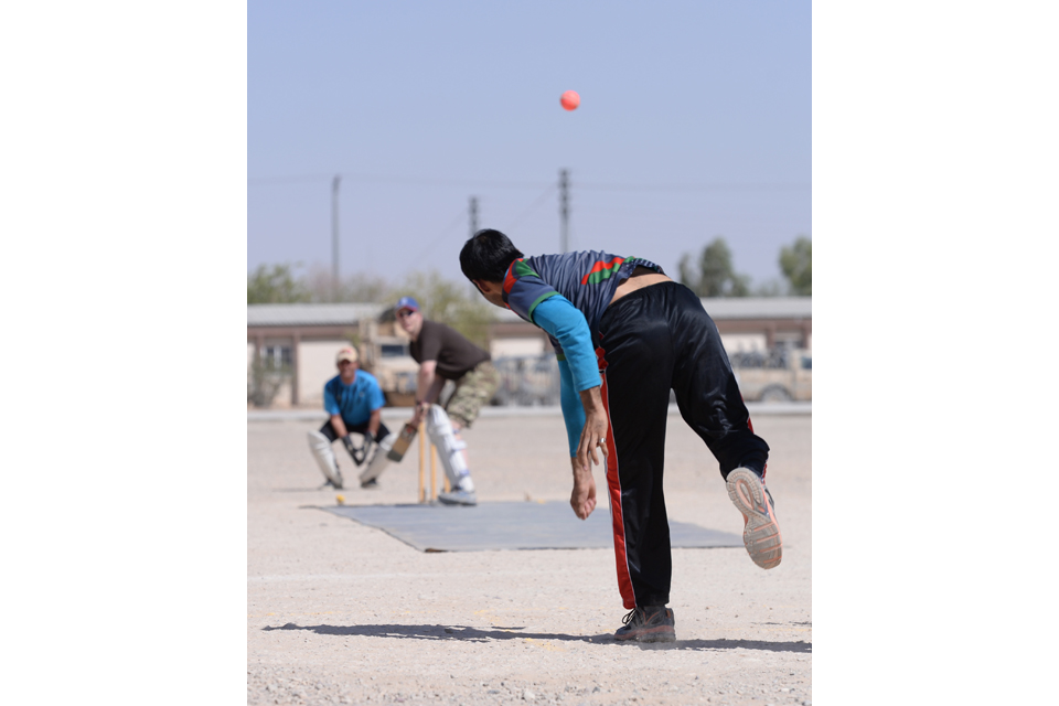 Afghan warrior bowls a cricket ball