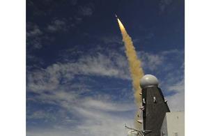 HMS Dragon fires a Sea Viper missile