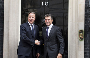 Prime Minister David Cameron and NATO Secretary General Anders Fogh Rasmussen outside 10 Downing Street.