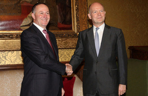 Foreign Secretary William Hague with John Key, Prime Minister of New Zealand in London, 18 September 2013.