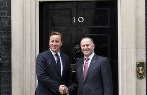 Prime Minister David Cameron and New Zealand Prime Minister John Key outside 10 Downing Street.