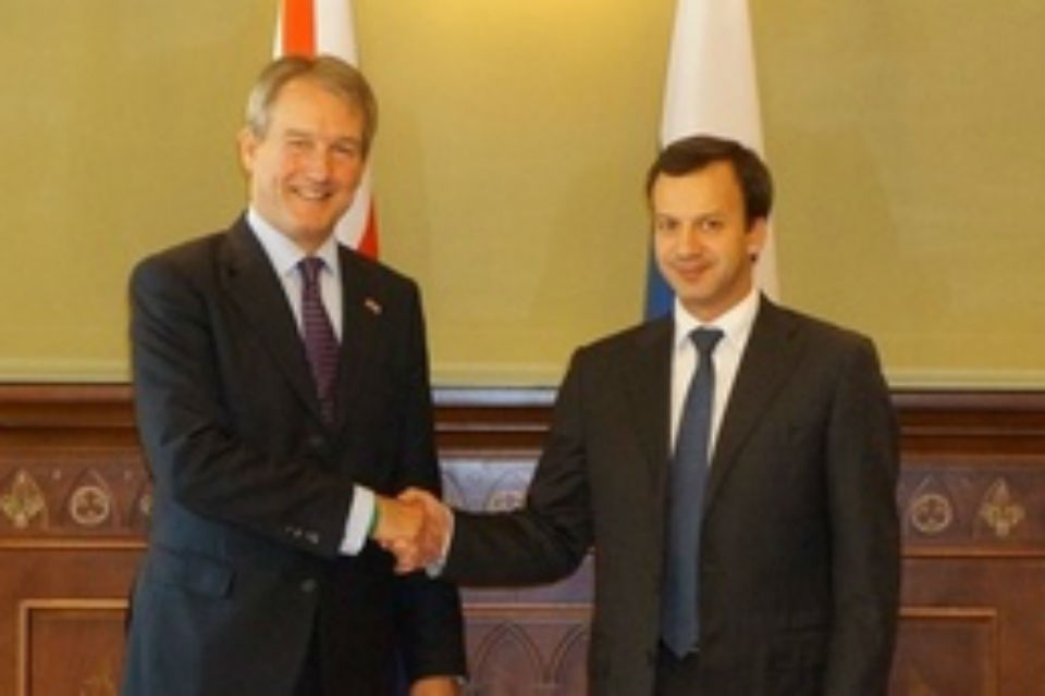 Owen Paterson and Russian Deputy Prime Minister Arkady Dvorkovivh finalise trade deal on British beef and lamb