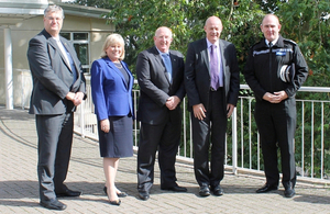 From left, Swindon council leader David Renard, Wiltshire council leader Jane Scott, Wiltshire PCC Angus Macpherson, Policing Minister Damian Green and Wiltshire Chief Constable Pat Geenty