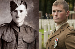 Private Lewis Curtis of 5th Battalion The Wiltshire Regiment and his great-nephew, Rifleman Richard Edwards of 5th Battalion The Rifles