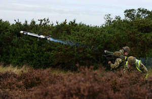 A Javelin anti-tank missile is fired at Stanford Training Area in Norfolk [Picture: Corporal Obi Igbo, Crown copyright]