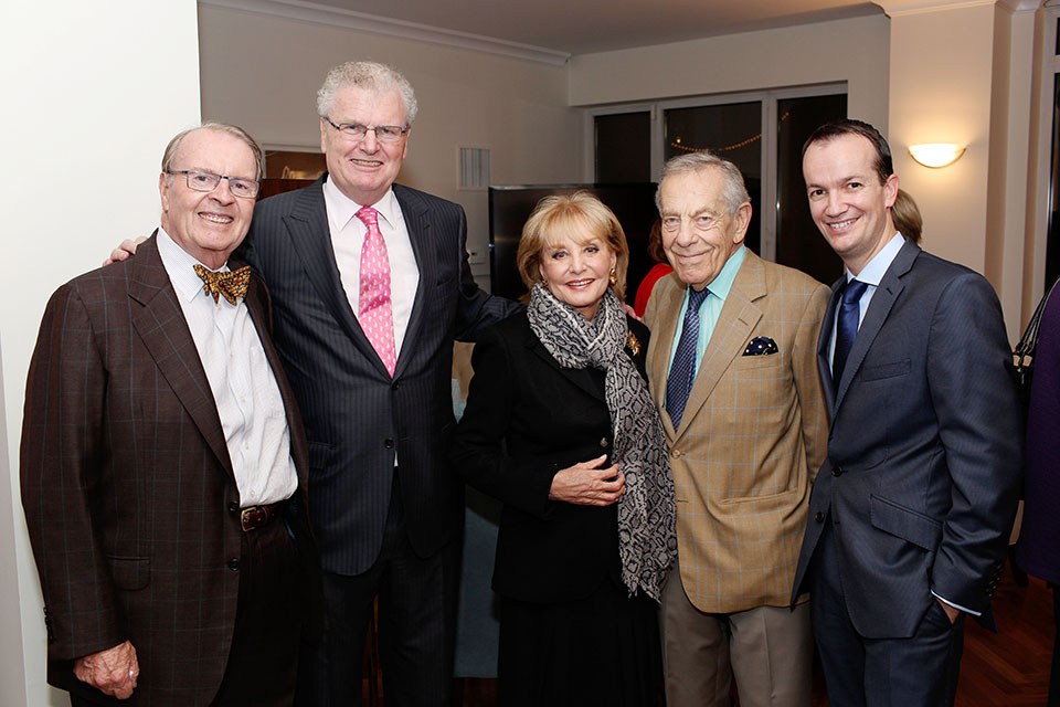 From left to right: Charles Osgood, Sir Howard Stringer, Barbara Walters, Morley Safer, and Consul General Danny Lopez.