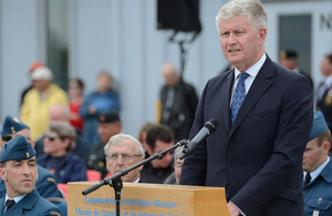 British High Commissioner Howard Drake delivers an address during the Canadian Battle of Britain Commemoration in Ottawa on Sunday (15 September 2013). Credit: Canadian Forces