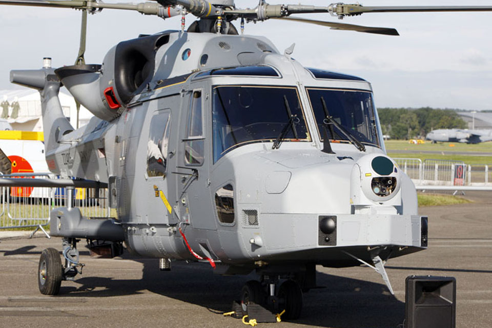 One of the first two Army Wildcat helicopters handed over to the MOD by AgustaWestland at the Farnborough International Airshow