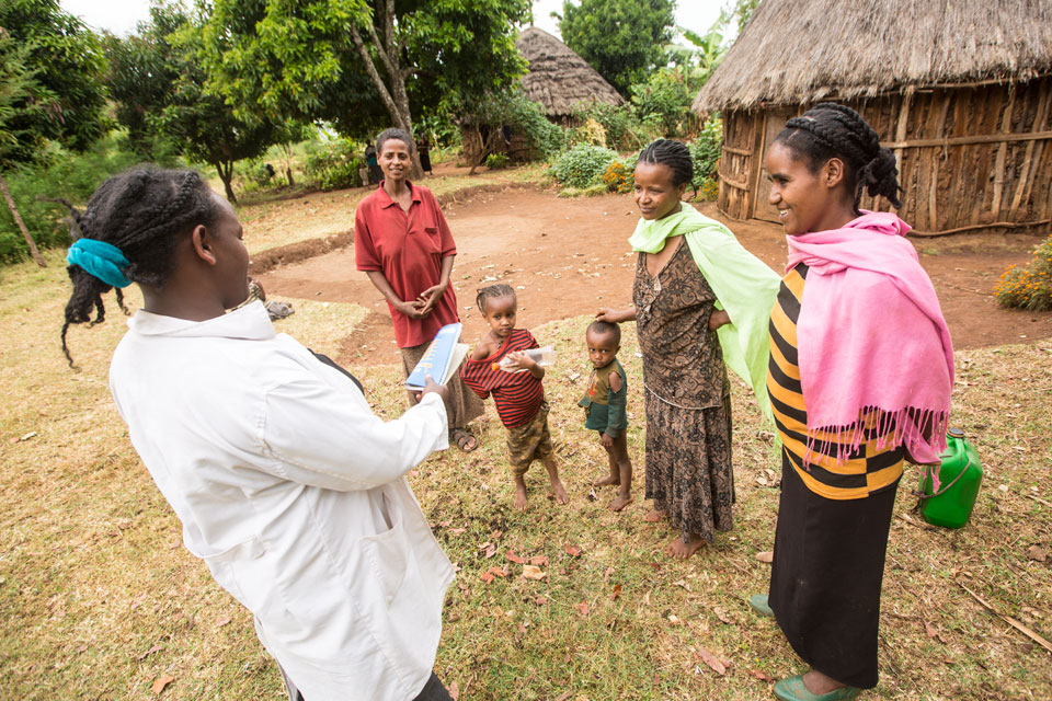 28-year-old Workalem Haile, a female health extension worker, visits a rural community in Bolosso Sore district, Ethiopia.