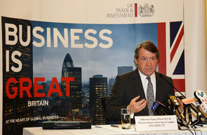The Lord Mayor of the City of London, Mr Alderman Roger Gifford, talks to the press