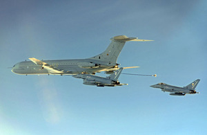 A VC10 aircraft from 101 Squadron refuels a pair of Typhoon jets during its final operational sortie [Picture: Senior Aircraftwoman Helen Farrer, Crown copyright]