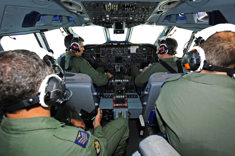 Crew members inside a VC10