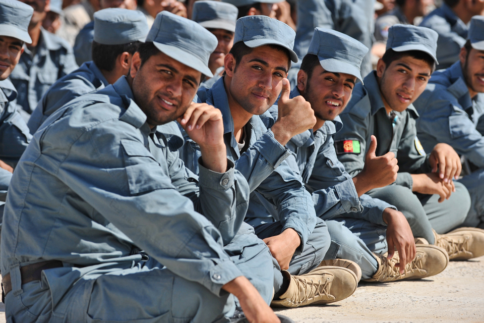 Afghan Uniform Police recruits at the Lashkar Gah Training Centre