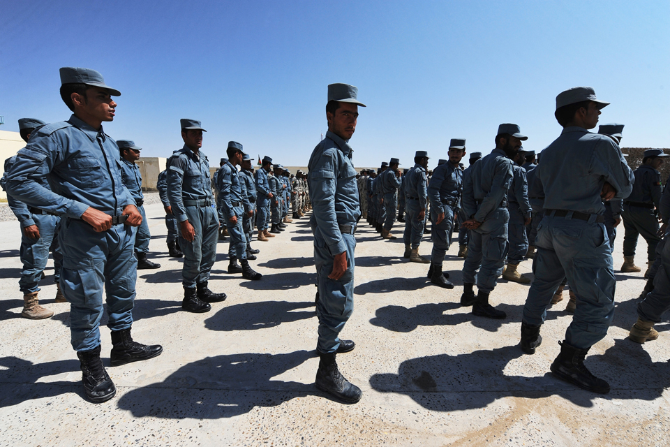 Afghan Uniform Police recruits on parade