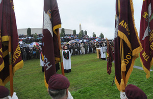 The dedication ceremony for the Parachute Regiment and Airborne Forces Memorial at the National Memorial Arboretum in Staffordshire