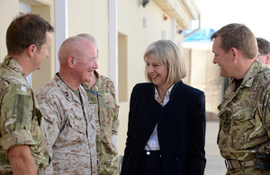 The Home Secretary with Major General Walter Miller US Marines Corps, (Commander, Regional Command South West)