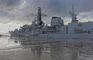 HMS Northumberland alongside in Souda Bay, Crete, for a routine port visit prior to heading to the Middle East on operational tasking