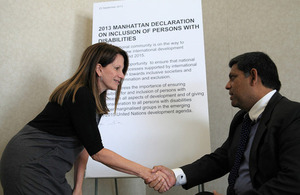Lynne Featherstone meets Mosharraf Hossain Country Director for ADD International in Bangladesh. Picture: Fernando Olivas/ IDA & IDDC