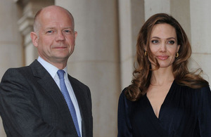 Foreign Secretary William Hague with Angelina Jolie