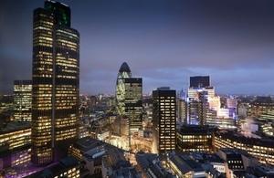 London skyline at dusk