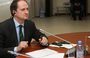 Mr Huw Jones at the roundtable in Astana