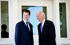 Deputy Prime Minister Nick Clegg and Vice President Joe Biden