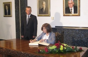 Baroness D'Souza signing the Book of Impressions at the Parliament of Macedonia