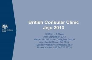 British Consular Clinic Jeju 2013