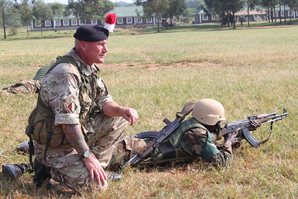 A British Army reservist provides training in Uganda (library image)