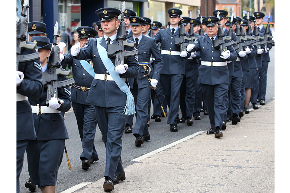 RAF reservists march through Hucknall in Nottinghamshire (library image)