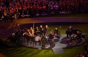 The British Paraorchestra performing at the closing ceremony of the 2012 Paralympics.